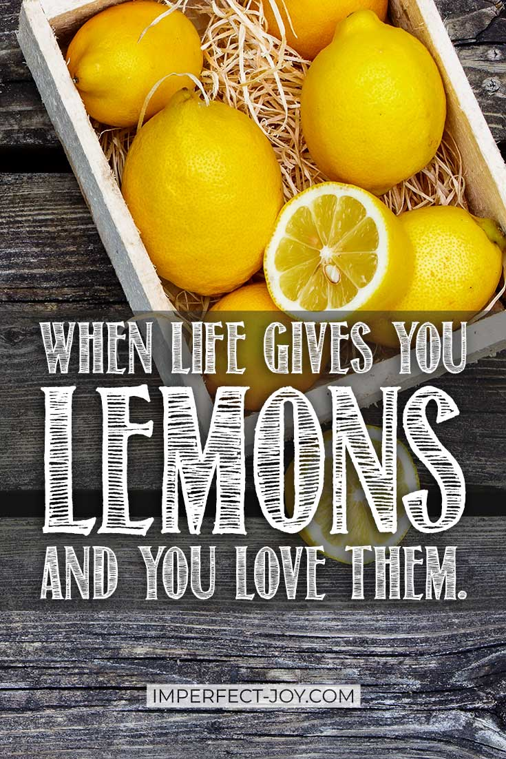 Getting lemons from life, getting a few more, and then realizing that you don't like lemonade, but God is giving you lemons whether you like them or not. #christianblogger #lifegivesyoulemons #trustGod #faith #imperfectjoy #proverbs31woman #christianmom #addchild #onlychild #childofGod #makelemonade